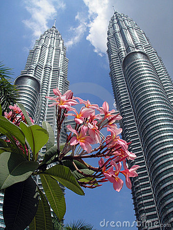 Petronas Twin Towers with flowers in the foregroun