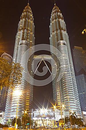 Petronas Twin Towers at night Editorial Stock Image