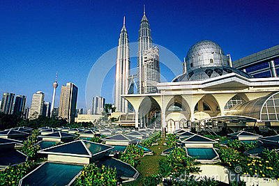 Petronas Twin Towers and Skyline of Kuala Lumpur Editorial Stock Image