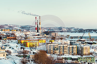 Petropavlovsk-Kamchatsky cityscape, power plant ans seaport