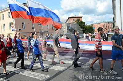 PETROZAVODSK, RUSSIA –AUGUST 22: parade on the day of the Russian flag  on August 22, 2013 in Petrozavodsk, Russia Editorial Photography