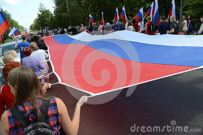 PETROZAVODSK, RUSSIA –AUGUST 22: parade on the day of the Russian flag  on August 22, 2013 in Petrozavodsk, Russia Editorial Image