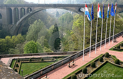 Petrusse Park and Adolphe Bridge, Luxembourg