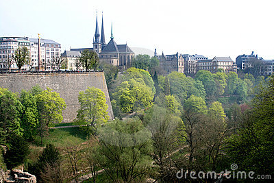Petrusse Park and uptown of Luxembourg City