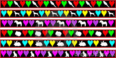 Pets, dog, cat, rabbit border