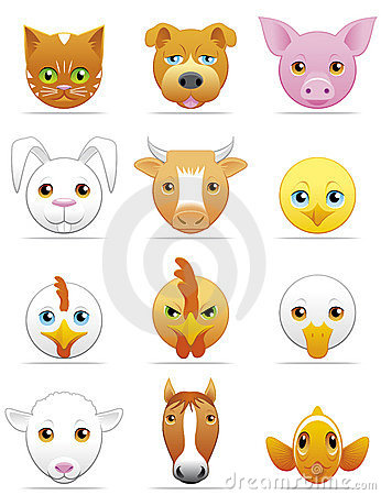 Pets and farm animals icons