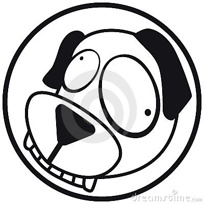 Pets icon dog b&w