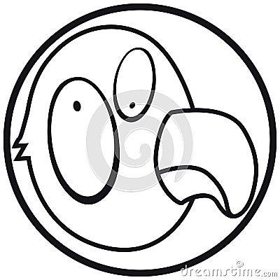 Pets icon parrot b&w