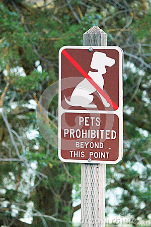 Pets Prohibited sign