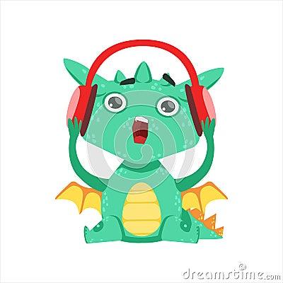 peu d illustration d emoji de personnage de dessin anim d couteurs de dragon listening to