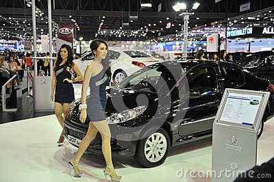 Peugeot 207 on Display at a Car Show Editorial Stock Photo