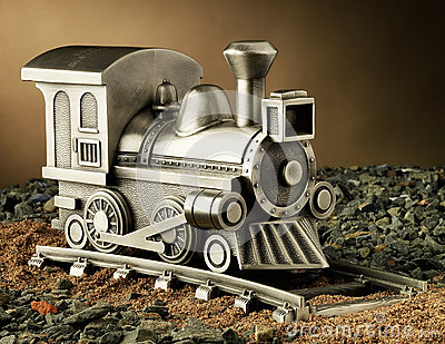 Pewter Model of Steam Engine Train on Track