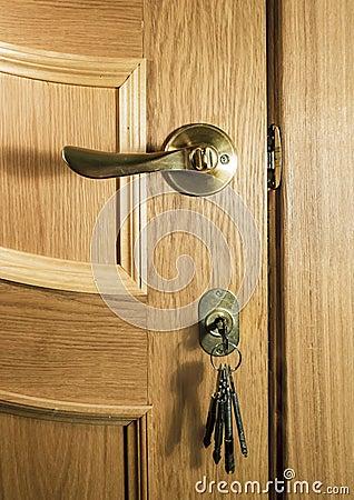 Pezzo di legno di una porta della quercia con una maniglia for Mazzo per esterni in legno