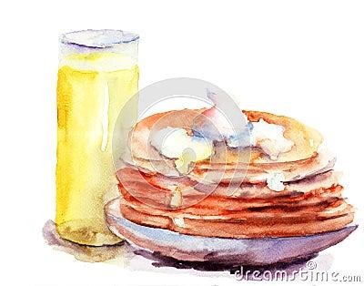 Pfannkuchen stapeln mit Saft