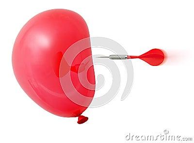 Pfeil ungefähr, zum des roten Ballons zu schlagen