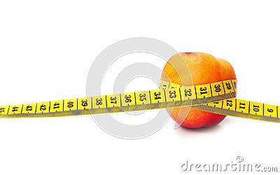 Pfirsich und Messinstrument getrennt