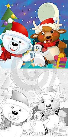 A página do Natal da coloração com estreia colorida