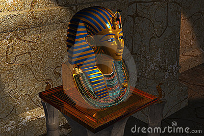 Pharaoh death mask in museum