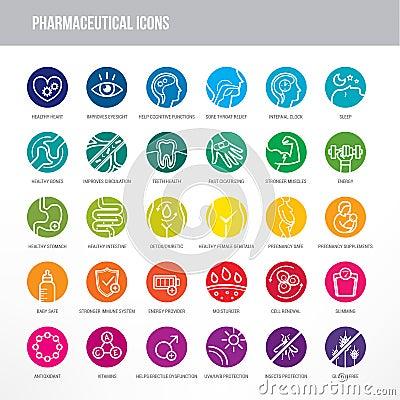 Free Pharmaceutical And Medical Icons Set Stock Photo - 46792850
