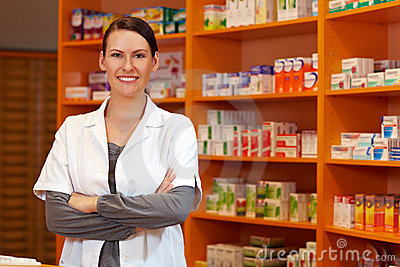 Pharmacist with her arms crossed