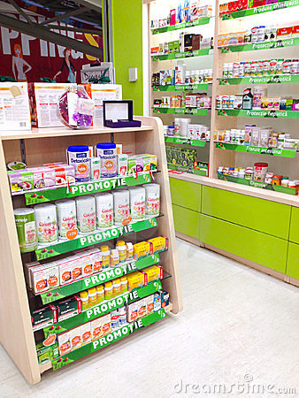 Pharmacy shelves Editorial Photo