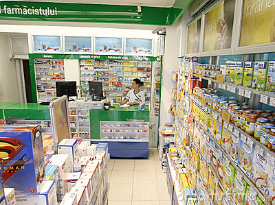 Pharmacy shop drugstore interior Editorial Photography