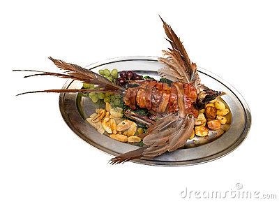 Pheasant with potato and grapes