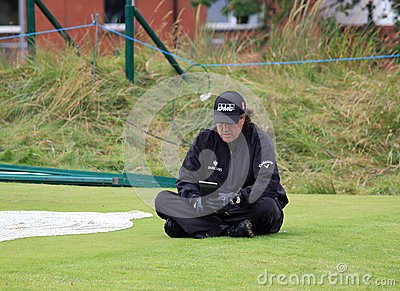 Phil Mickelson contemplates his next shot 9th tee Editorial Stock Photo