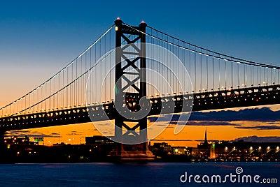 Philadelphia en la puesta del sol