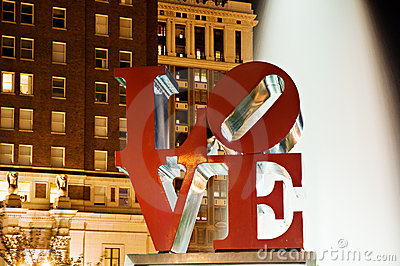 Philadelphia Love park at night Editorial Stock Photo