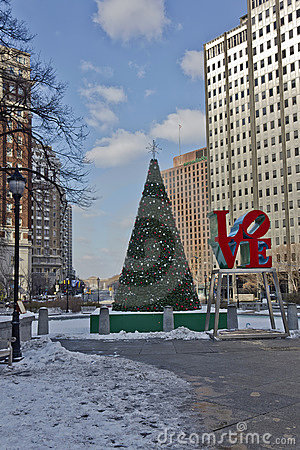 Philadelphia Love Park at Winter Editorial Photo