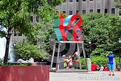 Philadelphia, PA: Boy Photographing LOVE Sculpture Editorial Image