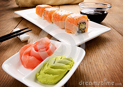 Philadelphia roll sushi on a white plate