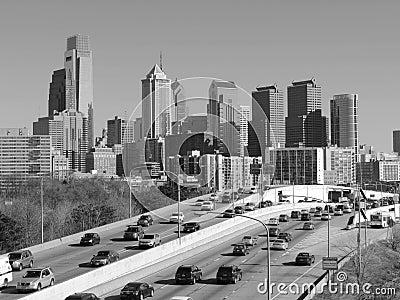 Philadelphia Skyline black and white Editorial Stock Image