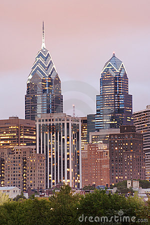 Free Philadelphia Skyline Of One And Two Liberty Place With Pink Even Stock Photos - 1242113