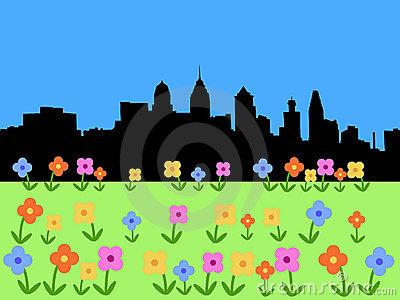 Philadelphia skyline in spring