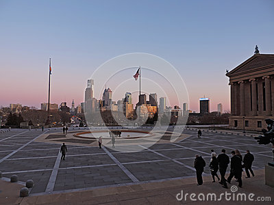 Philadelphia Skyline at Sunset Editorial Stock Image