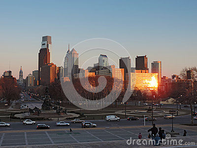 Philadelphia Skyline at Sunset Editorial Photography