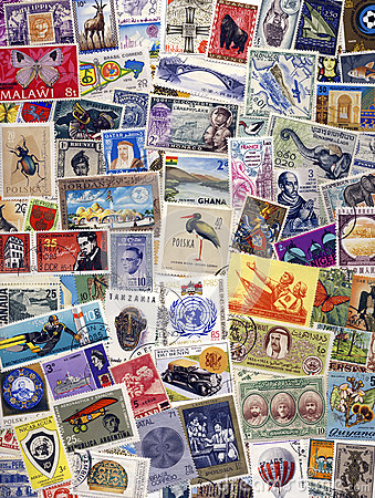 Philately - Postage Stamps of the World Editorial Stock Image