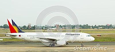 Philippine Airlines jet lands in Vietnam. Editorial Photo
