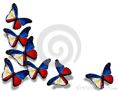 Philippine flag butterflies, isolated on white