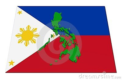 Philippines 3d map on flag