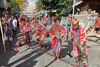 Philippines Bukidnon tribal street dancers Editorial Photography