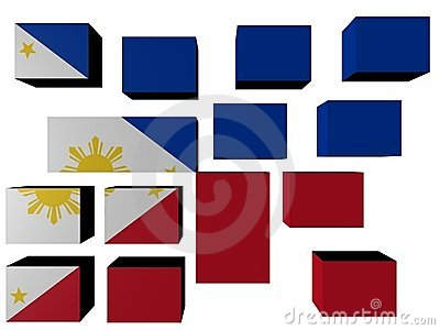 Philippines Flag on cubes
