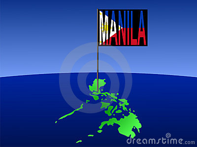Philippines with Manila flag