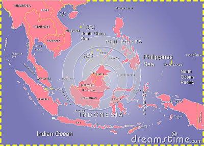 Philippines Sea,Indonesia Map.