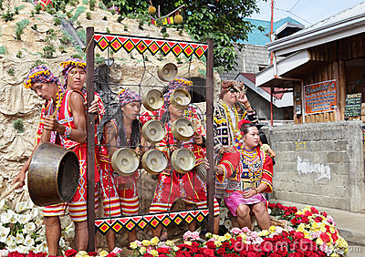 Philippines tribal drummers on festival float Editorial Image