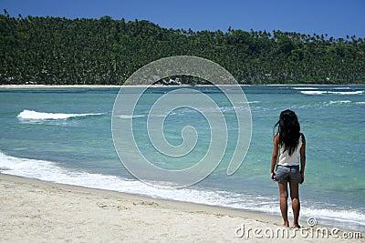 Philippines tropical beach girl wild coastline