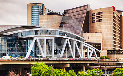 Philips Arena and CNN Center in Atlanta Editorial Photo