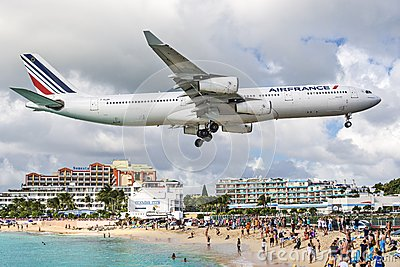Maho Beach, Philipsburg, Sint Maarten Editorial Photo